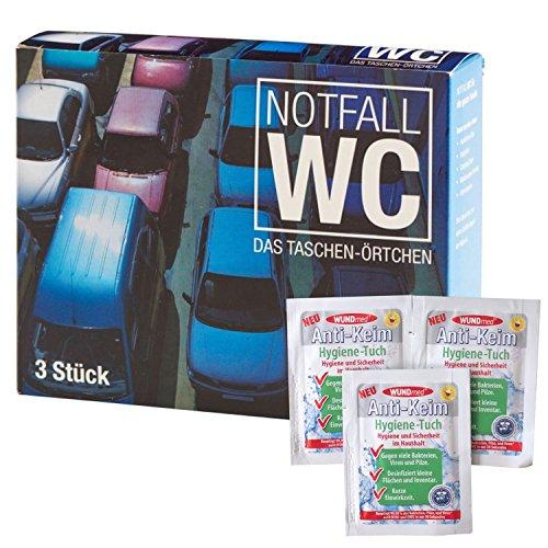 Ecosharkz Notfall-WC Bundle für Damen und Herren für dringende kleine Bedürfnisse im Auto, im Stau, auf Großveranstaltungen oder anderswo mit Hand-Desinfektionstüchern (3 Stück)