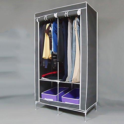 MMM& Armature en acier renforcé Épais Armoire simple Assemblage pliant Grand Tissu simple Armoires Armoire de rangement (couleur : Gray)