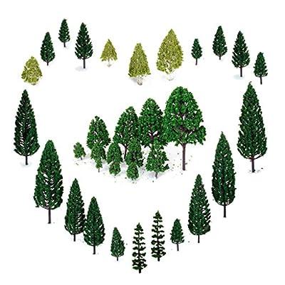 29pcs Gemischtes Modell Bäume (4 -16 cm), OrgMemory Ho Scale Bäume, Diorama Modelle, Modellbahn Landschaft, Architektur Bäume, Modellbahn Landschaft mit No Stände [Muttertagsgeschenk]