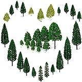 29pcs Gemischtes Modell Bäume (4 -16 cm), OrgMemory Ho Scale Bäume, Diorama Modelle, Modellbahn Landschaft, Architektur Bäume, Modellbahn Landschaft mit No Stände