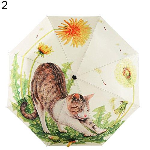 Preisvergleich Produktbild osmanthusFrag Tragbare Nette Katze Muster Anti-UV-Sonne Regen Taschenschirm (2 )