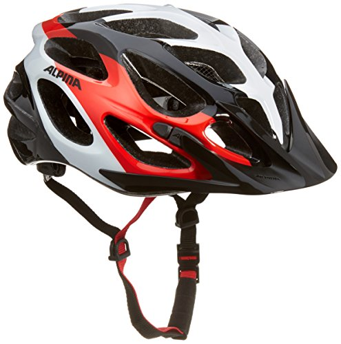 Alpina Radhelm Mythos 2.0 Fahrradhelm, Black-White-red, 57-62 cm