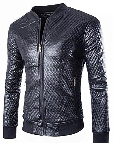Jeansian Hommes Mode Blousons Veste en Cuir Men's Casual Faux Leather PU Zipper Motorcycle Jacket Outerwear Slim Coat 9339 DarkGray M(XL)