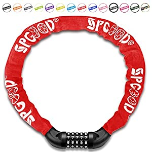 SPGOOD Bike lock/bicycle chain/cycling lock (14 colors) 5-Digits codes Resettable 100,000 codes for bike cycle, moto, door, Gate Fence 100cm length (Red)