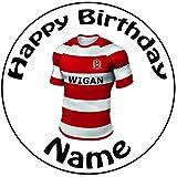 personalisierbar Wigan Warriors Rugby-Shirt Kuchen Topper–Einem vorgeschnittenen Rund 20,3cm (20cm) Zuckerguss Dekoration