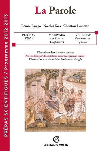 La Parole - Prépas scientifiques - Programme 2012-2013