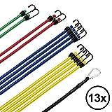 Flowtex 13er-Set Gepäckspanner mit Haken/Karabiner | Verschiedene Expander/Spanngummi/ Spannseile/Spanner Set