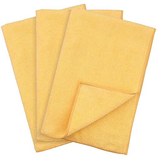 TECAROO paños de microfibra (3 unidades), amarillos, ultrafinos, protegen la pintura, absorbentes | con 2 años de garantía de satisfacción | paños para limpieza, paños para pulir, limpieza de coche, bayetas de microfibra