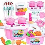 leegoal Spielzeug-Set für Kinder, 22 Teile, Spielküche, simulierte Kochplatten, Wasserhähne, Obst, Gemüse, Spielset für Mädchen und Jungen Rose