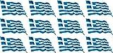 Mini Aufkleber Set - Pack wehend - 50x31mm - selbstklebender Sticker - Fahne - Griechenland - Flagge / Banner / Standarte fürs Auto, Büro, zu Hause und die Schule - 12 Stück