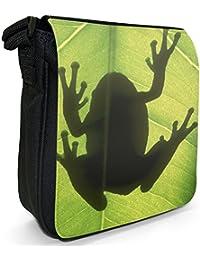 Gray Tree frog Silhouette Small Black Canvas Shoulder Bag / Handbag