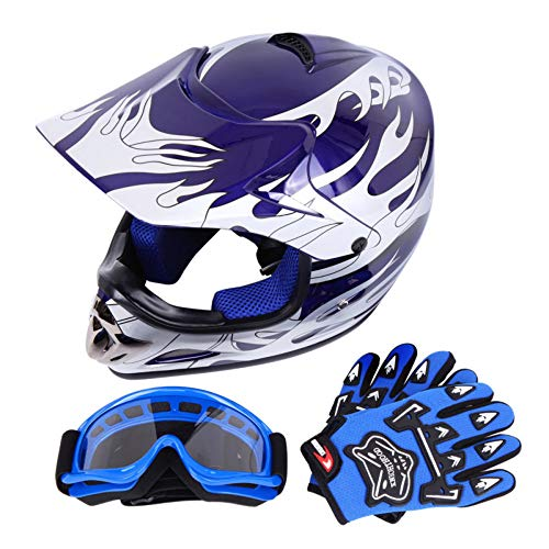Samger DOT Youth Bambini Off Road Casco da Cross Caschi Dirt Bike ATV Casco da Moto Guanti+ Occhiali (L, Blu)