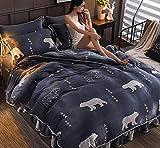 Bocotous Winter Plüsch Bettwäsche,Super King Size Gedruckt Verdickt Warme Flanell Bettbezug, Erwachsene Kinder Winter Warme Bettdecke für doppel King Size Bett-Bear8 200 * 230 cm (4 pcs)