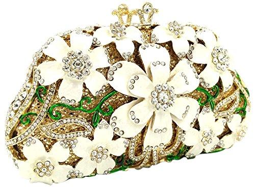 Donna Pochette Sera Borsetta Portafoglio Partito Cerimonia Borsa Sposa Spalla Frizioni Eleganti Fiore Bianco White