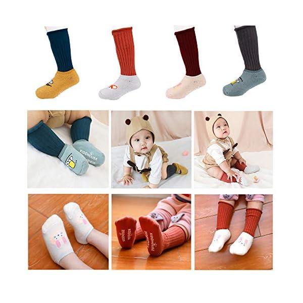 MaoXinTek Calcetines Antideslizantes para Bebé 8 Pares Cálido Dibujos Animados Alta Rodilla Calcetines Algodón para 12… 4