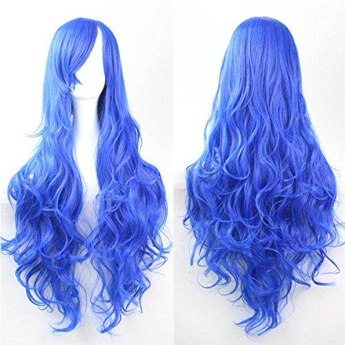 Donne delle ragazze delle signore 80 centimetri di blu marino di colore lunghi ricci parrucche costume di alta qualità dei capelli Carve Cosplay Anime di Bangs completa sexy Parrucche
