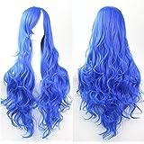 Mujeres Ladies Girls 80cm Azul marino Color de largo rizado pelucas del partido del Anime alta calidad Carve pelo cosplay Bangs completa Sexy Pelucas