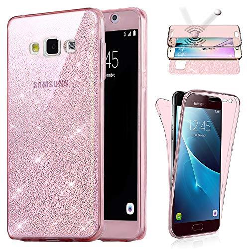 Coque Avant Et Arriere Compatible avec Samsung Galaxy Grand Prime G530, Housse Bling Bling Etui Gel Silicone Protection 360° Avant + Arriere Paillette Rose