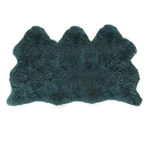 Verbergen Sahne (Lambland Handbearbeitet Qualität britischen Schaffell Teppich in blaugrün - Größe 3 verbergen)