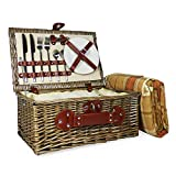 Cesta de mimbre para picnic y manta de color naranja con compartimento y accesorios integrados para enfriar - Ideas de regalo para cumpleaños, San Valentín, boda, aniversario, negocios y empresa