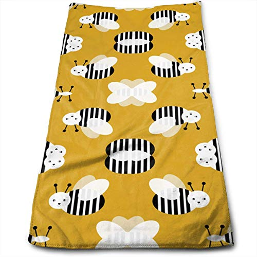 vintage cap Bumble Bee Garden Summer Cute Stripes Kitchen Towels - Dish Cloth - Machine Washable Cotton Kitchen Dishcloths, Dish Towel & Tea Towels for Drying,Cleaning,Cooking,Baking (12 X 27.5 Inch) -