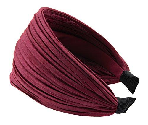 axy HR32 Haarreif Serie 32 Hair Band mit leichtem Flanell (Leder Optik) (Dunkelrot)