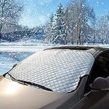 Frontscheibenabdeckung Auto(147 * 100 cm) - Lamantt Autoscheibenabdeckung KFZ Frontscheibe Abdeckung   Schutz vor UV-Strahlung Staub Hitze Dreck Sonne Frost Schnee Eis Wind für Sommer + Winter