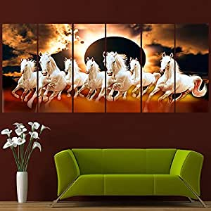 RAY DECOR Sparkling Horses Wall Painting (48 x 24 Inches, Multicolour)
