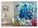 AnazoZ Duschvorhang Anti-Schimmel, Wasserdicht Vorhänge an Badewanne Antibakteriell, Bad Vorhang für Dusche 3D Unterwasserwelt Delfin, 100% PEVA, inkl. 12 Duschvorhangringen 120 x 180 cm