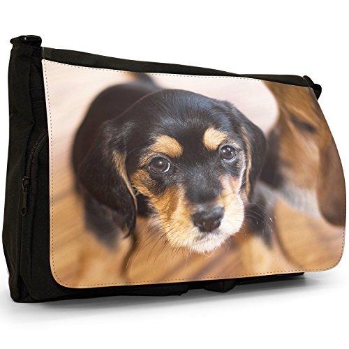 4028883-Cane Beagle di peluche, grande, colore: nero, Borsa Messenger-Borsa a tracolla in tela, borsa per Laptop, scuola Adorable Beagle Puppy