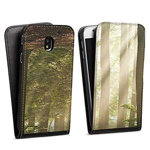 DeinDesign Flip Case kompatibel mit Samsung Galaxy J3 Duos 2017 Tasche Hülle Wald Forest Lichtung
