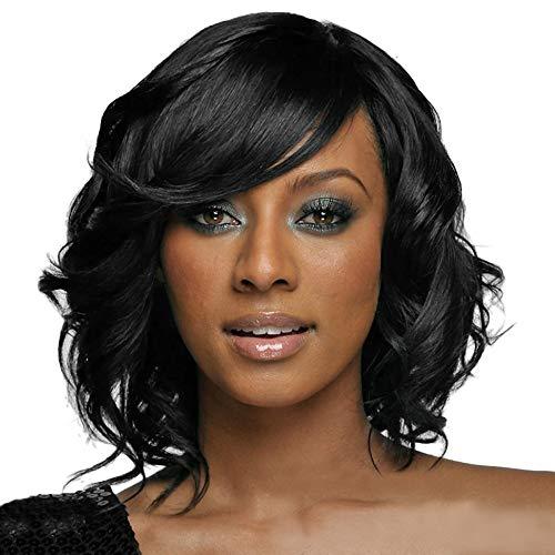 Frauen schwarzes brasilianisches kurzes gewelltes gelocktes Trennungs Hochtemperaturfaser Perücke Haar