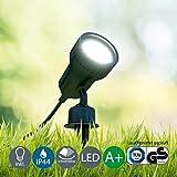 Beleuchtung - LED Außenleuchte, Außenstrahler, Außenleuchte, Außenlampe, Terrassen Beleuchtung, Gartenleuchte, Gartenlampe, Gartenspieß, Erdspieß, Außenbeleuchtung, warmweiß, schwenkbar, schwarz, B x H 10 x 19,5 cm