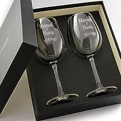 Estuche de dos copas de vino personalizadas - Regalo para pareja