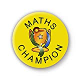 Maths Champion Badge (yellow) - Reward - 1inch (25mm) School Button Pin Badge
