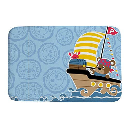 HaoXiang Badematten Dekorative Koralle Samt Fußmatte rutschfest leicht zu reinigen Einzigartiges Design Tiere Piraten mit Schatztruhe, Korallenvlies, Muster 1, 23.6x15.7 inch