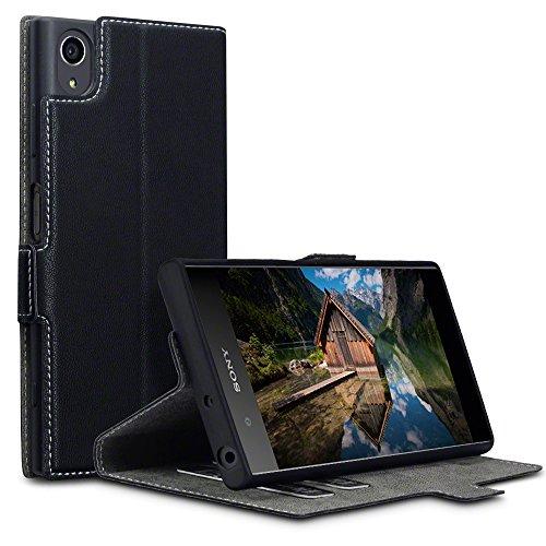 Terrapin, Kompatibel mit Sony Xperia XA1 Plus Hülle, Leder Tasche Case Hülle im Bookstyle mit Standfunktion Kartenfächer - Schwarz