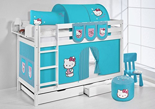 Lilo kids letto a castello jelle tÜv e gs approvato hello kitty, letto a soppalco con tenda e doghe letto per bambini
