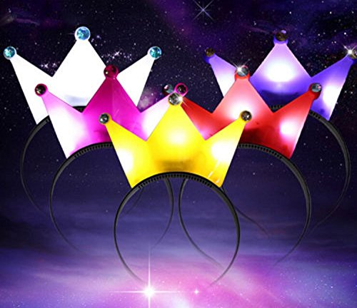LED Light Up Flashing Party Headband Hat Royal King Queen Crown Design   5 Colours    SG UK  PINK