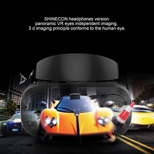 VR 3D Gafas SHINECON de Realidad Virtual VR Headset Gafas para Ver 3D Películas / Juegos para IOS iPhone,Android Celulares de 4.7-6 Pulgadas (6- con auricular)