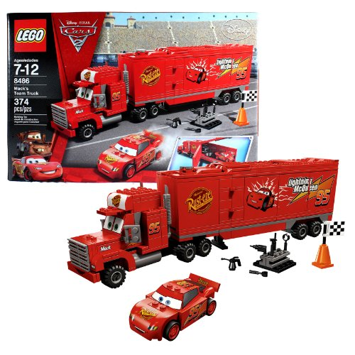 Lego-Year-2011-Disney-Pixar-Cars-2-Movie-Scene-Set-8486-MACKS-TEAM-TRUCK-with-Opening-Trailer-Plus-Classic-Lightning-McQueen-Cone-Racing-Flag-and-Tool-Rack-with-Tools-Total-Pieces-374-by-Unknown