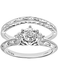 Revoni - 9ct White Gold 0.12ct Diamond Fancy Bridal Set Ring