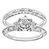 Naava 9ct White Gold 0.12ct Diamond Fancy Bridal Set Ring