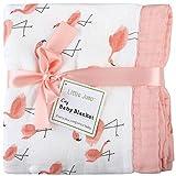 Flamingo Baby Kuscheldecke, extra weich und groß, 120 x 120 cm, 100% Bambus musselin decke baby , 4-lagig, Motiv: Wolke, Decke, Baby decke spucktücher mädchen (Flamingo)
