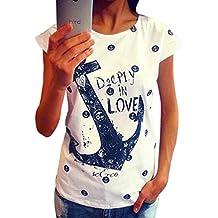 ZKOO Camisetas Mujeres Verano Anclas Impresión Manga Corta Camiseta Blusa Tops Ocio