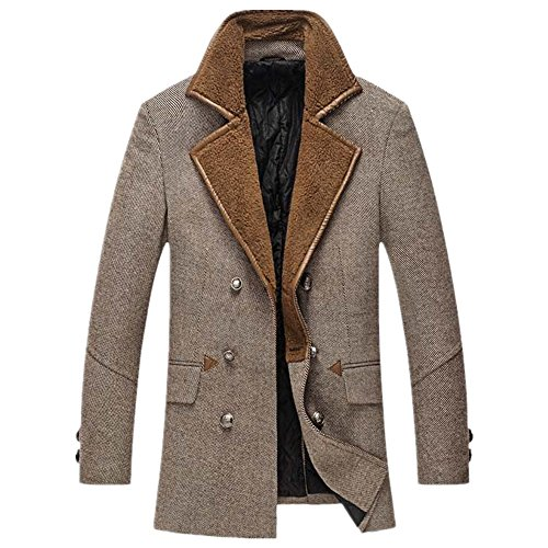 CRAVOG Wolljacke Herren Wollmantel Wollparka Warm Winter Jacke Mantel Parka Outwear Oberbekleidung Mode Trenchcoat Windjacke Windmantel Windparka Grau Kaffee (L, Kaffee)