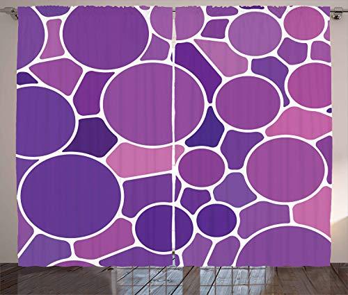 ABAKUHAUS Lila und rosa Rustikaler Gardine, Glasmalerei, Schlafzimmer Kräuselband Vorhang mit Schlaufen und Haken, 280 x 260 cm, Mehrfarbig - Lila Glasmalerei