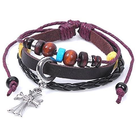 Véritable Spark Cuir tressé Bois coloré Perles Silvery Croatie Croix religieux Charm Bracelet