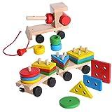 Lpyfgtp Holzpuzzles - Kinderbaby-Entwicklungsspielwaren-hölzerner Zug-LKW-geometrische Blöcke-pädagogisches Spielzeug