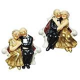 Brautpaar Goldhochzeit auf Sofa, Polystone